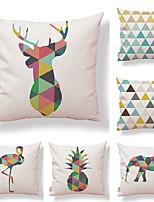 abordables -6 pcs Tissu / Coton / Lin Taie d'oreiller, Géométrique / Animal / Imprimé Artistique / Forme carrée