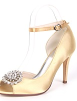 cheap -Women's Shoes Satin Spring & Summer Basic Pump Wedding Shoes Stiletto Heel Peep Toe Rhinestone Red / Champagne / Ivory