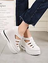 abordables -Femme Chaussures Polyuréthane Eté Chausson de Berceau Oxfords Hauteur de semelle compensée Bout rond pour Décontracté De plein air Blanc