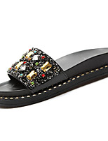 cheap -Women's Shoes PU Summer Comfort Slippers & Flip-Flops Flat Heel Round Toe Rhinestone for Casual Gold Black Silver