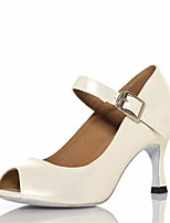 cheap -Women's Latin Shoes PU Heel Performance Practice Stiletto Heel White