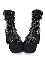 abordables -Gothique Punk Gothique Punk Creepers Chaussures Couleur Pleine 13cm CM Noir Pour PU