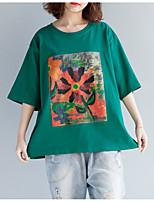 cheap -Women's Basic T-shirt - Color Block Print