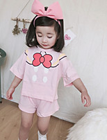 cheap -Kids Girls' Solid Colored Print Short Sleeves Clothing Set