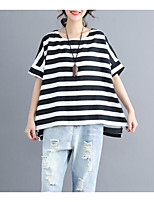 cheap -Women's Vintage T-shirt - Striped Black & White, Bow / Tassel