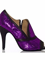 cheap -Women's Latin Shoes Paillette Heel Stiletto Heel Dance Shoes Purple / Performance / Leather / Practice