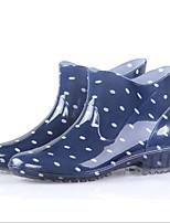Недорогие -Жен. Обувь КожаПВХ Весна лето Резиновые сапоги Ботинки На толстом каблуке Бежевый / Красный / Синий