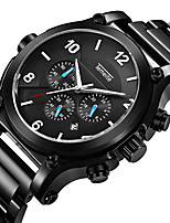 cheap -Men's Quartz Sport Watch Calendar / date / day Chronograph Large Dial Casual Watch Stopwatch Stainless Steel Band Luxury Cool Black Silver