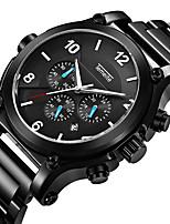 preiswerte -Herrn Quartz Sportuhr Kalender Chronograph Großes Ziffernblatt Armbanduhren für den Alltag Stopuhr Edelstahl Band Luxus Cool Schwarz