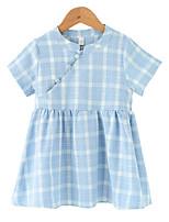cheap -Toddler Girls' Plaid Short Sleeve Dress