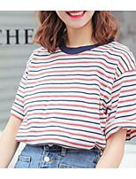 cheap -Women's Basic T-shirt - Striped Print