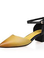 abordables -Femme Chaussures Cuir Eté Escarpin Basique Chaussures à Talons Talon Bottier Bout pointu Boucle Jaune / Rouge