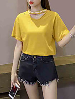 abordables -t-shirt pour femme - lettre de couleur unie autour du cou