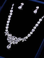 cheap -Women's Cubic Zirconia Jewelry Set - Leaf Fashion, Elegant Include Drop Earrings / Pendant Necklace White For Wedding / Party