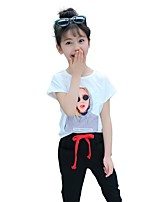 cheap -Kids Girls' Solid Colored Print Short Sleeve Clothing Set