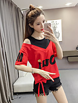 cheap -Women's Active / Basic T-shirt - Solid Colored / Letter Black & White / Black & Red, Cut Out / Bow / Print