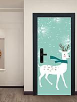 Недорогие -Декоративные наклейки на стены Дверные наклейки - Праздник стены стикеры Наклейки для животных Животные Рождество Гостиная Спальня Ванная