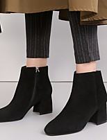 cheap -Women's Shoes Cowhide Fall Bootie Boots Chunky Heel Booties / Ankle Boots for Casual Black Khaki