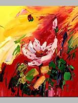 Недорогие -Hang-роспись маслом Ручная роспись - Абстракция / Цветочные мотивы / ботанический Классика холст