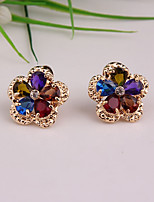 cheap -Women's Stud Earrings / Hoop Earrings - Gold Plated Flower, Clover Simple, Cute, Fashion Gold For Party / Office & Career