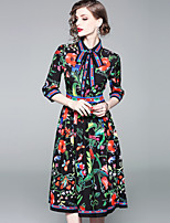 cheap -Women's Boho / Street chic A Line Dress - Floral Print High Waist Shirt Collar