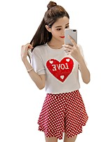 abordables -Tee-shirt Femme, Points Polka - Coton / Coton