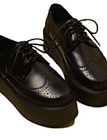 abordables -Femme Chaussures Cuir Nappa Printemps Confort Oxfords Creepers Bout rond Noir