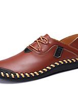 Недорогие -Муж. обувь Наппа Leather Весна Осень Удобная обувь Туфли на шнуровке для Повседневные Офис и карьера Черный Желтый Красный