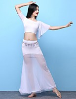 cheap -Belly Dance Outfits Women's Training Performance Modal Split Joint Short Sleeves High Skirts Top