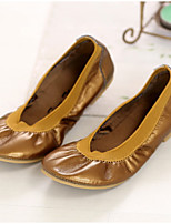 cheap -Girls' Shoes PU Spring & Summer Moccasin Loafers & Slip-Ons Ruffles for Orange / Brown