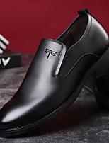 Недорогие -Муж. обувь Кожа Зима Удобная обувь Мокасины и Свитер Черный / Коричневый