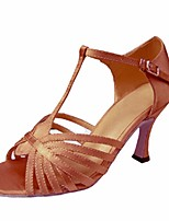 cheap -Women's Latin Shoes Silk Heel Performance / Practice Stiletto Heel Dance Shoes Brown