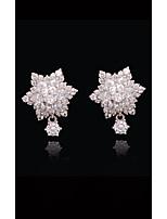 abordables -Femme Cristal - Perle, Plaqué or, S925 argent sterling Fleur, Balle Européen, Mode Blanc et argent Pour Plein Air / Vacances