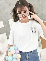 economico -T-shirt Per donna Essenziale Con ricami, Tinta unita / Animali