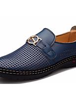 Недорогие -Муж. обувь Кожа Лето Удобная обувь Мокасины и Свитер Черный / Коричневый / Синий