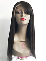 cheap -Remy Human Hair Lace Front Wig Brazilian Hair Straight Wig Layered Haircut 130% Side Part / With Bangs Black Women's Short / Long / Mid Length Human Hair Lace Wig