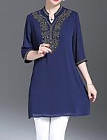 baratos -Mulheres Blusa Vintage / Básico Geométrica
