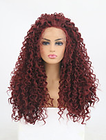 cheap -Synthetic Lace Front Wig Curly Burgundy Layered Haircut Synthetic Hair Heat Resistant Burgundy Wig Women's Long Lace Front / Yes