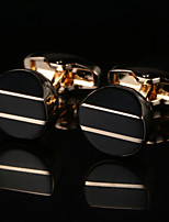 baratos -Forma Geométrica Dourado Botões de Punho Cobre / Liga Metálico / Fashion Homens Jóias de fantasia Para Casamento / Presente
