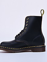 cheap -Women's Shoes Nappa Leather Fall Combat Boots Boots Chunky Heel Mid-Calf Boots Black