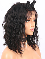 cheap -Remy Human Hair Lace Front Wig Wig Brazilian Hair Wavy Bob Haircut 130% Density With Baby Hair / Natural Hairline / African American Wig Women's Short / Mid Length Human Hair Lace Wig