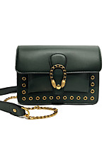 cheap -Women's Bags PU Leather Shoulder Bag Rivet / Zipper Dark Green / Brown / Wine