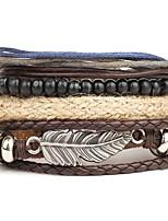 abordables -Homme Bracelets - Cuir Mode Bracelet Marron Forme de Noeud Pour Quotidien / Plein Air