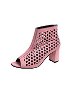 cheap -Women's Shoes Suede Spring & Summer Bootie Boots Walking Shoes Chunky Heel Peep Toe Booties / Ankle Boots Black / Pink