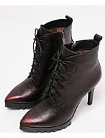 baratos -Mulheres Sapatos Pele Napa Outono / Inverno Conforto / Botas da Moda Botas Salto Agulha Prata / Vinho