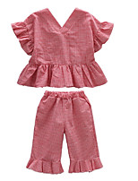 cheap -Kids Girls' Plaid Short Sleeve Clothing Set