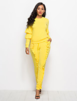 cheap -Women's Basic Set - Solid Colored, Ruffle Pant