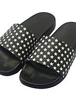 Недорогие -Жен. Обувь Полиуретан Весна лето Удобная обувь Тапочки и Шлепанцы На плоской подошве Открытый мыс Черный