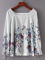 Недорогие -Жен. Рубашка Квадратный вырез Цветочный принт