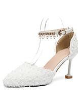 preiswerte -Damen Schuhe PU Frühling Sommer D'Orsay und Zweiteiler / Knöchelriemen Hochzeit Schuhe Kitten Heel-Absatz Spitze Zehe Imitationsperle /